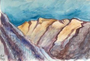 Gouache sketch of skyline at Gut Bay Alaska
